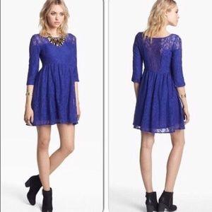 Free People 3/4 Sleeve Royal Blue Lace Dress XS